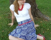 Red, White, and Blue Vintage-Inspired Cotton Skirt