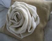 Shabby Chic Big Cabbage Rose Burlap Pillow