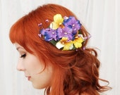 A pocket full - purple and yellow pansy comb - SALE