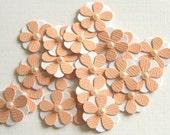 Teeny Tiny Peach and White Flowers - Set of 20