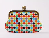Grandma's pop up - Mod dots in onyx - double metal frame purse