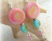 SALT WATER TAFFY - Artisan Polymer Clay Earrings -  Pink Version