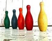 Mini Vibrant Wood Bowling Pins