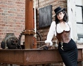 Steam Punk brown leather body armor Corset