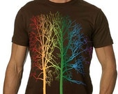 Rainbow Trees Tshirt MENS Graphic Tee - CritterJitters