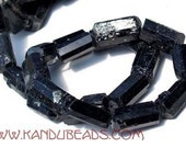 Black Tourmaline rough Crystaline Nuggets 8-18mm BIG 16 inch strand very rare