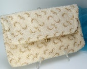 1950s 60s vintage caviar beaded folding clutch handbag purse - corde bead by lumured - ivory white