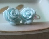 Fleur Powder Blue Stud Earrings - FREE SHIPPING