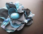 Brooch Pansy , tiffany blue, grey, turquoise, yellow, purpule