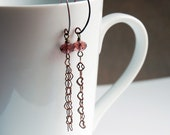 Copper Falls hearts and plum crystal  earrings