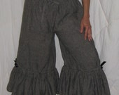 Womens Black Pinstripe Steampunk Linen Bloomers FREE SIZE to 16