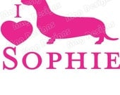 Hot Pink DACHSHUND Vinyl Dog Decal Silhouette on Etsy or you pick the color