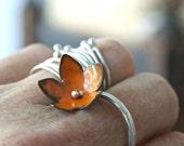 sweet orange enamel bellflower ring