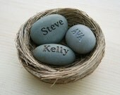 Mom's Nest (c) - Set of 3 name stones in bird nest