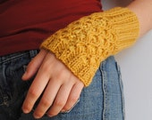 Bees Honey Comb Cuffs Alpaca Wool Hand Knit Yellow
