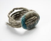 Ecological felted bracelet from Lithuanian  local coarsewooled sheep wool and linen