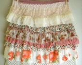 Layered Ruffled Skirt Boho Reconstructed  from Vintage Rose Print Fabrics