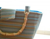 Handmade Purse with tan and teal stripes
