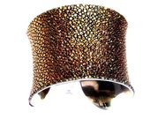 Metallic Gold Genuine Stingray Leather Cuff Bracelet