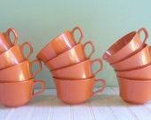 Vintage Set of Twelve Orange Melmac--Melamine--Plastic Teacups--By Allied Chemical