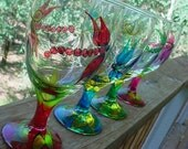 DRAGONFLY Goblets 16oz Summer Colors mix and match glasses