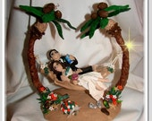 Tropical Bride and Groom in Hammock by, Enchanted You Wedding Cake Topper