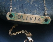 Apocalypse Collection- Vintage Brass Tag Name Plate Necklace by Madre de Olivia
