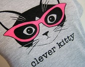 Heather Grey Clever Kitty Fine Jersey Short Sleeve Women's Tee