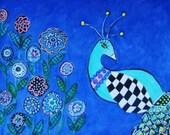Peacock in Garden 8x10 Print