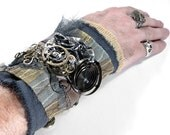 Steampunk Cuff - BROWN LEATHER and Textile INDUSTRIAL Art Wrist Cuff - AWESOME COILED SPRING and SILVER OCTOPUS - Tons of GEARS - STRIKING Adjustable PIECE - Exclusive WEARABLE ART by edmdesigns and 1/2 Street Studios