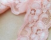 BLush pink Lace Trim  with lycra Bridal , Craft, Clothing, Sash, Ribbon
