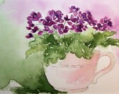 Purple African Violets in Teacup Original Watercolor Painting