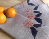 Summer Barbecue Hand Printed Linen Napkins (set of 4)