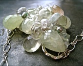 mint mojito cluster necklace -- prehenite, green amethyst, one of a kind wire wrap focal pendant, elegant, feminine, ethereal