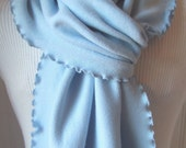 Powder Soft Blue Ribbed Knit Ruffled Scarf