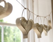 Recycled paper book garland, spring wedding, easter hearts, beige decor