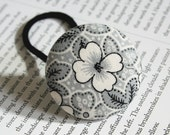 Grey flowers - an oversized ponytail holder