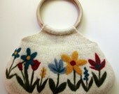 Beautiful white felted handbag tote with colorful needle felted flowers and wooden handles