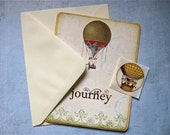 Hot Air Balloon Journey Greeting Card, Vintage Inspired, Blank