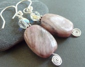 Pink Sugulite Earrings in Sterling Silver