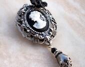 Victorian Cameo Brooch - Black flower, Swarovski pearl, Silver Filigree - Gothic Lolita