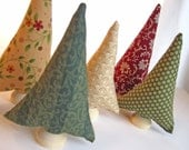 Country Charm Trees - tiny forest of 5 red, green, and cream fabric trees - housewares