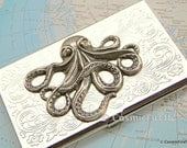 Octopus Business Card Holder - Silver Plated Metal - Slim Vintage Style Victorian Design - CosmicFirefly Exclusive Nautical Steampunk Awesomeness