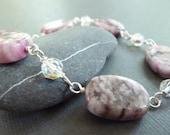 Pink Sugulite Bracelet in Sterling Silver