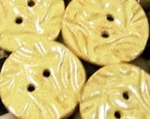 Leaves in Maize Twill - Set of 4 Handmade Ceramic Buttons