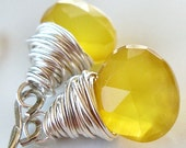 Yellow Chalcedony Briolette Sterling Silver Dangle Earrings - Canary