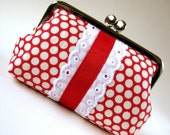 Snap purse - polka dots on red with lace and ribbon