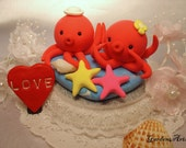 love octopus couple with ocean base   (custom order)