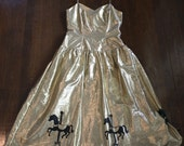 Gold lame dress with hand painted carousel horses