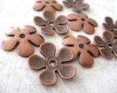 Antique Red copper  - BIG flower bead caps - 10 pc.